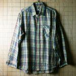 古着ユーゴスラビア製 メンズ長袖チェックシャツ(黒×黄×緑×青×赤)【BUD BERMA】