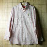古着USA製メンズ長袖レッド・ホワイトストライプワークシャツ(白×赤)【UniFirst】