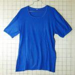 古着ヨーロッパ製 無地青(ブルー)丸首Tシャツ