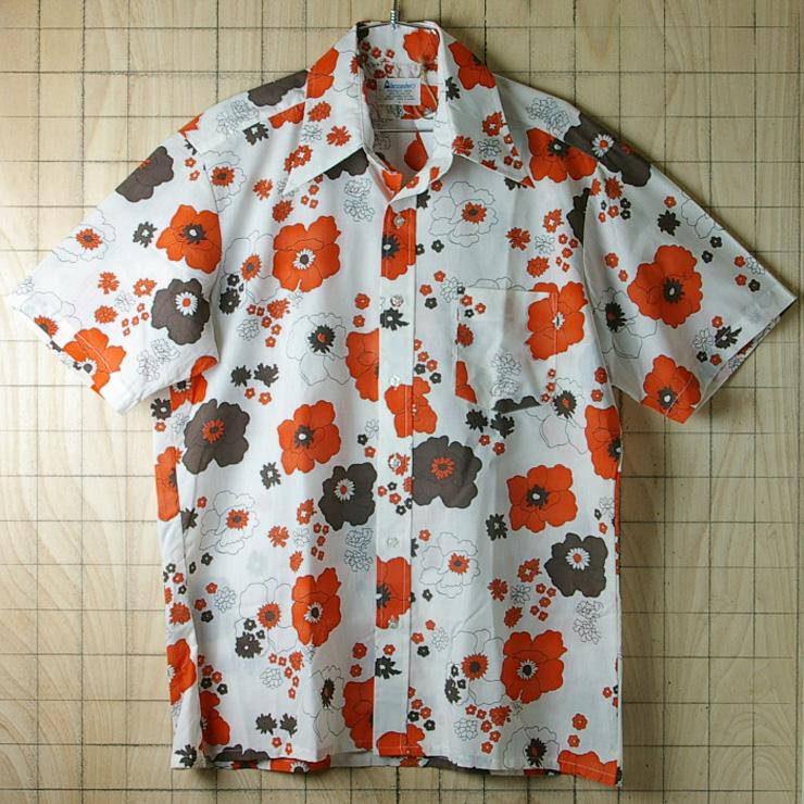 古着メンズ半袖レトロオレンジ花柄ビンテージシャツ【Alexander's】