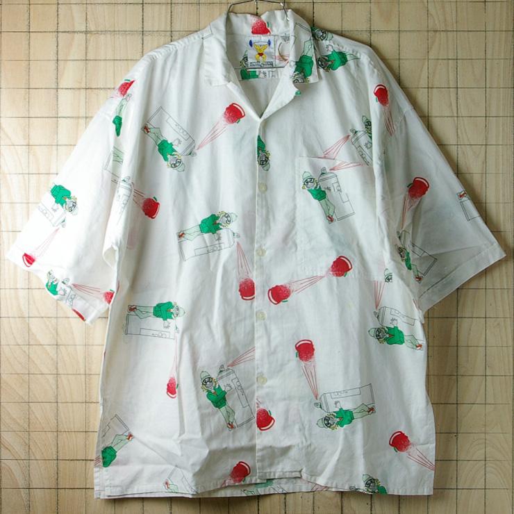 古着メンズ80'sりんごプリント半袖シャツ【UNIONBAY】