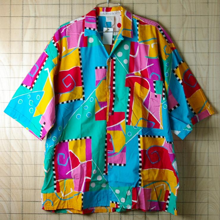 古着コットン100%カラフルカラー80's半袖柄シャツ【UNIONBAY】