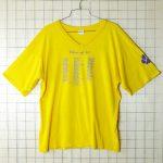 古着USA(アメリカ)製AransasPassPanthersVネックイエロー(黄色)Tシャツ