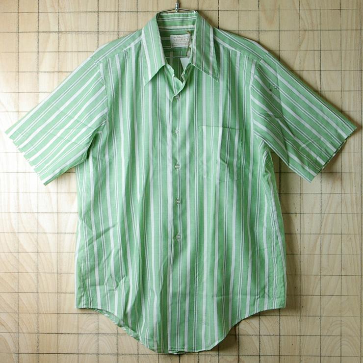 古着USA(アメリカ)製ストライプ緑×灰×白(グリーン×グレー×ホワイト)半袖ビンテージシャツ【Arrowアロー】
