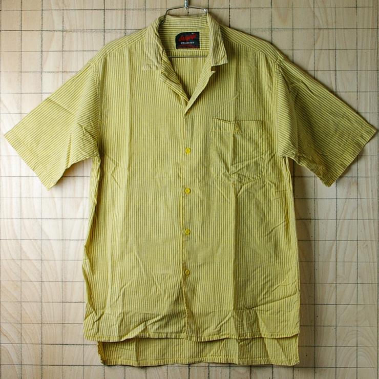 古着ストライプ黄×灰(イエロー×グレー)コットン100%半袖ボックスシャツ【Arrowアロー】