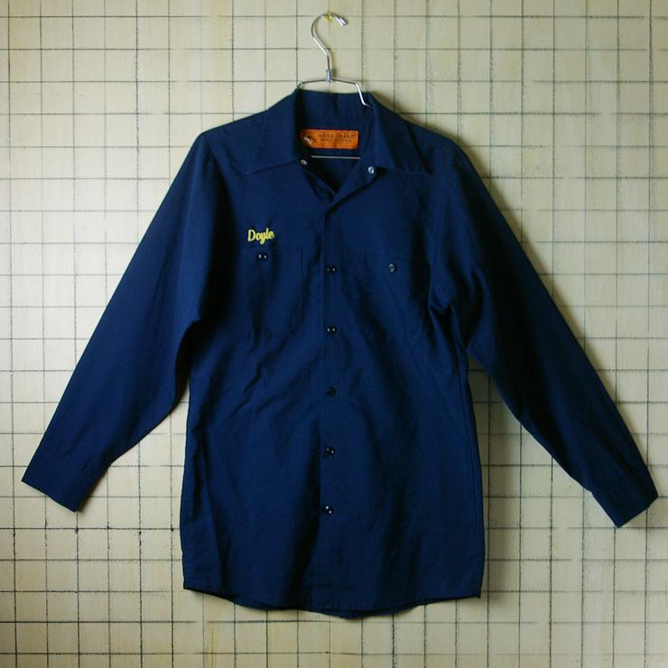 古着USA(アメリカ)製Doyle刺繍メンズ長袖ワークシャツ【WEAR-GUARD】