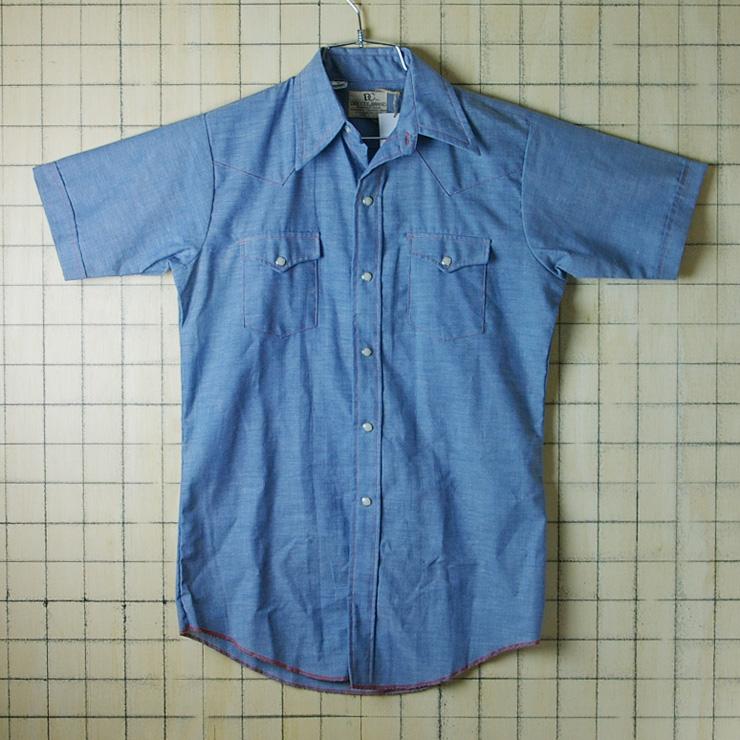 【デッドストック】古着USA(アメリカ)製水色(ブルー)【DEE CEE BRAND】メンズシャンブレー半袖ウエスタンシャツ