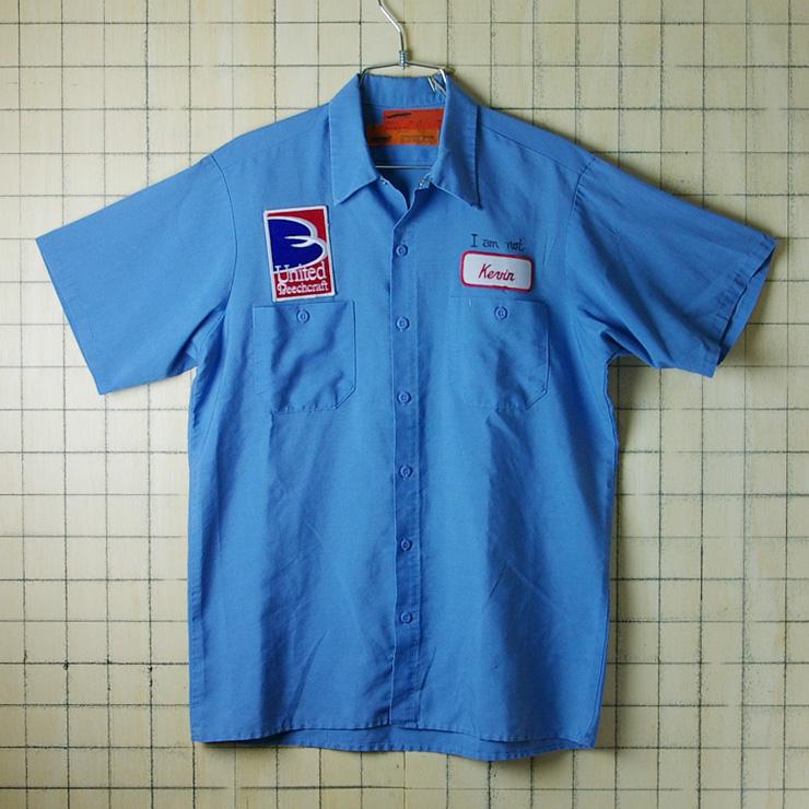 古着USA(アメリカ)製水色(ブルー)【Perfect】KEVINメンズ半袖ワークシャツ