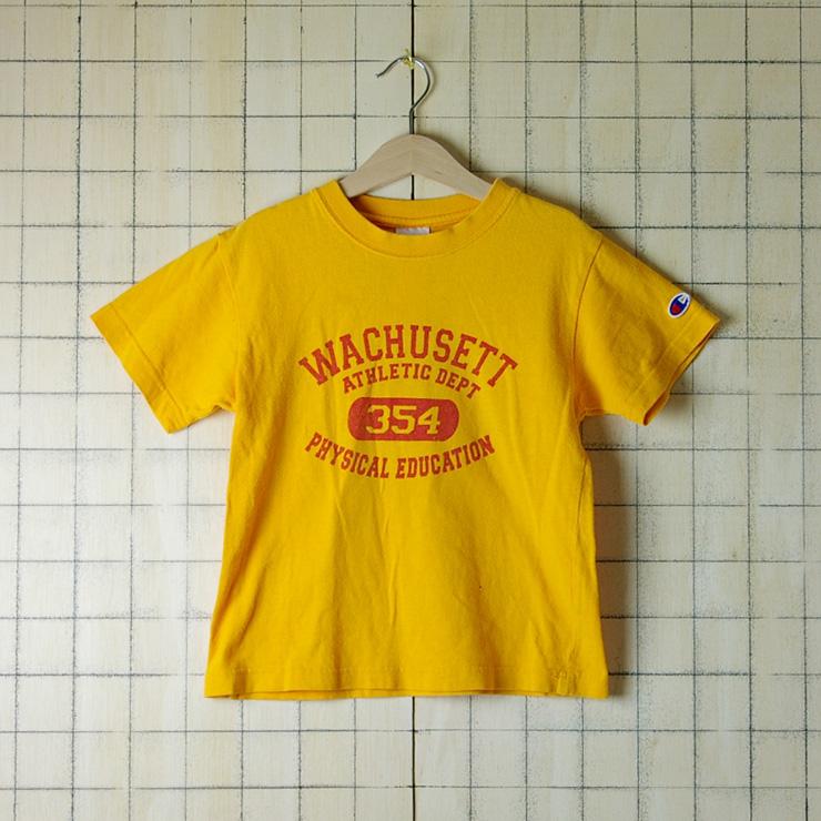 古着黄色(イエロー)WACHUSETT ATHLETIC DEPT 354 PHYSICAL EDUCATION【Champion】110cmキッズTシャツ