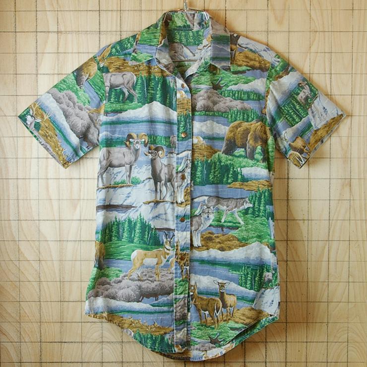 古着メンズアニマル・動物(熊、狼、鹿)イラストプリント半袖柄シャツ