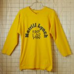 【ビンテージ】古着USA(アメリカ)製イエロー(黄色)Merrill-Lynch(メリルリンチ)7部袖企業ロゴプリントラグランVネックTシャツ【RUSSELL ATHLETIC(ラッセルアスレチック)】