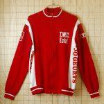 古着ベルギー製ホワイト×レッド(白×赤)t.w.cEcht-JoGeurts(Goossens)フロッキープリントサイクリングジャージトップス