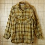 【ビンテージ】古着ベージュ×ブラウン×ダークブラウン長袖メンズネルチェックウールシャツ【Woolrichウールリッチ】