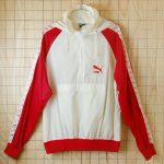 古着レッド×ホワイト(赤×白)フード付きナイロンジャケット・ウインドブレーカー【PUMAプーマ】