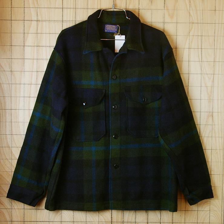古着ペンドルトン|ネイビー×グリーン×ブルー長袖メンズチェックウールシャツ【PENDLETON】