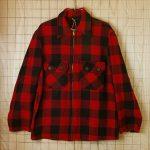 古着SEARSビンテージレッド×ブラック(赤×黒)バッファローチェックフルジップシャツ・マッキーノジャケット【シアーズヘラクレス】