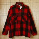 古着LLビーンアメリカ製メンズレッド×ブラック(赤×黒)バッファローチェックウールシャツ【L.L.Bean】