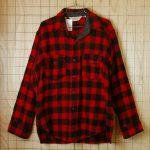 古着Woolrich長袖メンズレッド×ブラック(赤×黒)バッファローチェックウールシャツ【ウールリッチ】