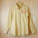 【MODELPRESS】古着USA製メンズ長袖イエロー・ブルーストライプボタンダウンワークシャツ