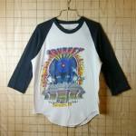 【ビンテージ】古着USA(アメリカ)製ブラック×ホワイト(黒×白)Journey(ジャーニー)WORLD TOUR1983ラグラン7部袖プリントバンドTシャツ【TOUR SPORTS WEAR】