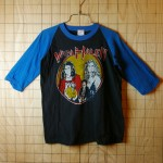 【FANTASY】古着パキ綿VANHALEN(ヴァン・ヘイレン)ブラック×ブルー(黒×青)コットン100%ラグラン7部袖プリントバンドTシャツ