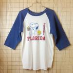 【ビンテージ】古着スヌーピー・ウッドストック(Snoopy)ネイビー×ホワイト(紺×白)FLORIDA-CHEERSラグラン7部袖プリントTシャツ