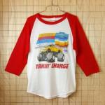 【ビンテージ】古着80sシボレー(CHEVROLET)レッド×ホワイト(赤×白)TAKIN'CHAGEラグラン7部袖プリントTシャツ
