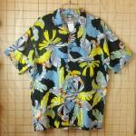 古着USA製総柄オウム、熱帯植物プリントコットン100%ハワイアンシャツ・半袖シャツ【KUDOS】