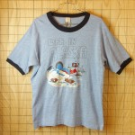 古着USA製LIFE IN ALASKA霜降りブルー×ネイビーリンガーTシャツ【sportswear】