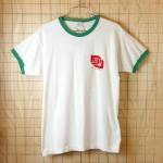 古着USA製Championトリコタグ富士フイルム(FUJI FILM&CAMERAS)グリーン×ホワイトリンガーTシャツ【チャンピオン】