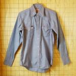 【Miller】古着刺繍ステッチCALIFORNIA-UNIVERSITY水色(ブルー)ウエスタンシャツ・シャンブレーシャツ:サイズS【ミラー】