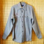 【JCPenny】古着ハンドメイド刺繍(釣り、魚柄)イラスト水色(ブルー)メンズシャンブレーシャツ:サイズL