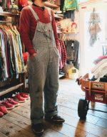 USA KEY Imperial Hickory Overalls & Thermal Shirts & USA Converse Leather Sneaker