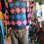 70s French Lacoste Argyle-checked wool-knit sweater