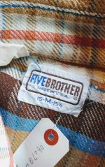 70S-80S FIVE BROTHER Light Brown CHECK HEAVY FLANNEL SHIRT