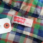 70s Levis Green & Blue Checked Lightweight Flannel Shirt